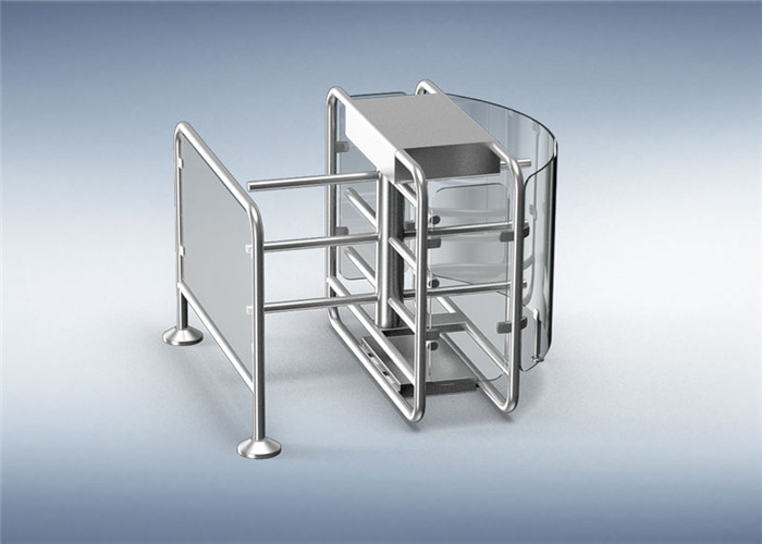 316 Stainless Steel Speedgate Turnstile Half Height Revolving Door With Railing