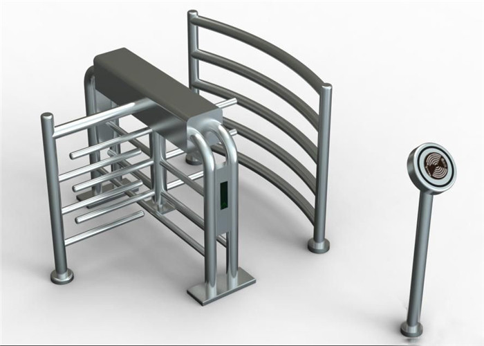 304 Stainless Steel Security Waist High Turnstiles , Rotating Controlled Access Turnstiles